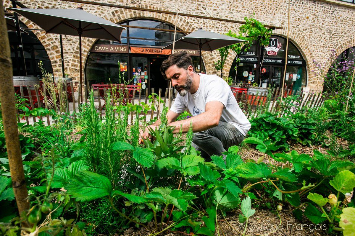 Fabrice Mury devant son restaurant récolte les légumes et aromates de son potager